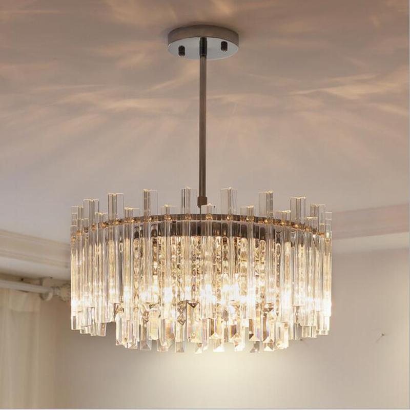 LED Avize Oturma Yatak odası Mutfak İskandinav Yemek odası Işık Asma Modern Kristal Avizeler Kare / Yuvarlak