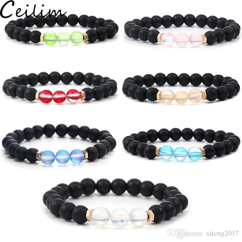 6 mm de design de mode Verre Cristal Perle Bracelet éclair Pierre pour Femmes Hommes coloré naturel Noir mat Agate Pierre Bracelet ethnique