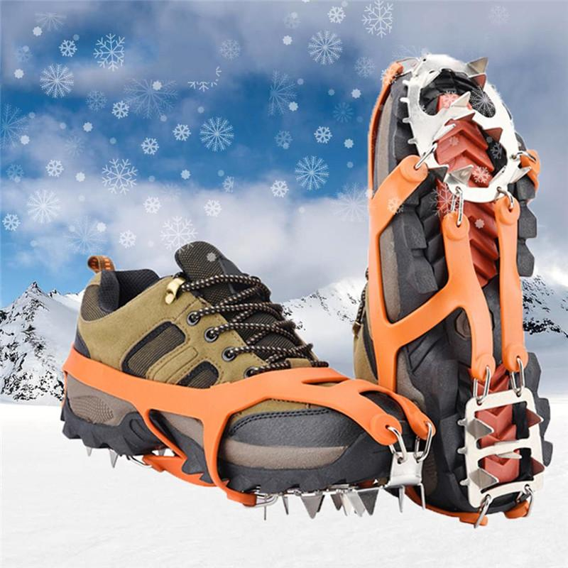 Outdoor Teeth Nail Climbing Ice Snow Crampons Shoe Spike Winter Anti-slip UK