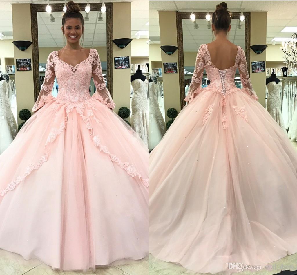 Elegante hellrosa Langarm Ballkleider 2019 Puffy Prinzessin Ballkleid Quinceanera Kleider Sweet 16 Kleid Mädchen Pageant Spitze