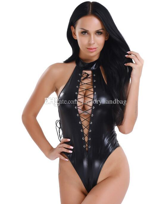 Sexy Womens Body Stocking for Female One Piece Lace up Leather High Cut Sexy Romper Bodysuit Leotard Night Clubwear Costumes