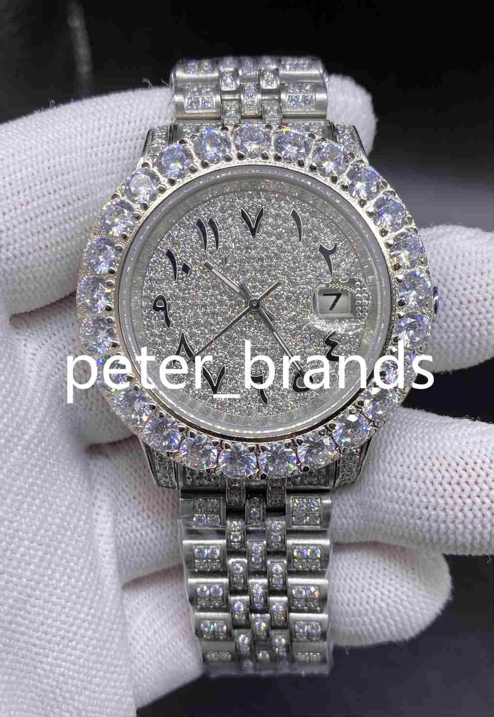 Dial Árabe Assista Diamond Watch Luxo Iced Out relógio automático 43MM Men prata impermeável inoxidável 316L Set CZ Diamante