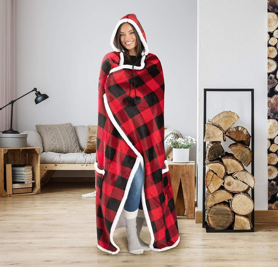 "52""x72"" Lazy Blanket Mens Womens Designer Plaid Hooded Blankets Cape Warm Fleece Robe Cloak With Pompom 5styles Thick Swaddlings G"