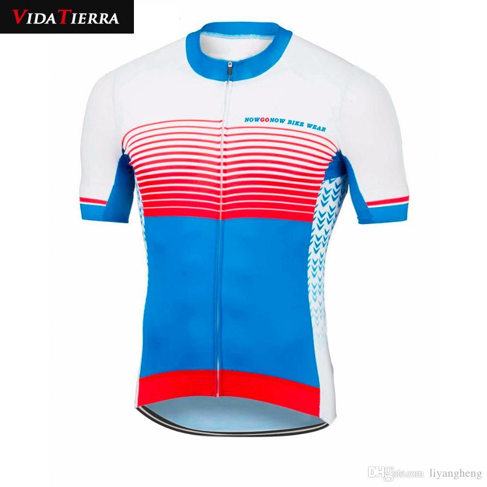 2019 VIDATIERRA Manga larga / corta hombre azul negro ciclismo jersey ropa de bicicleta desgaste equipo de carreras profesional downhill jersey fresco verano clásico