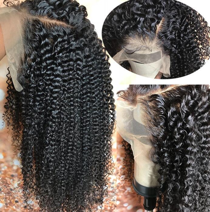 Peluca delantera del cordón del rizo rizado de 13x4 largo de despedida Preplucked rayita 10A malasio de la Virgen Las pelucas de pelo humano peluca de encaje completo de Negro Wome