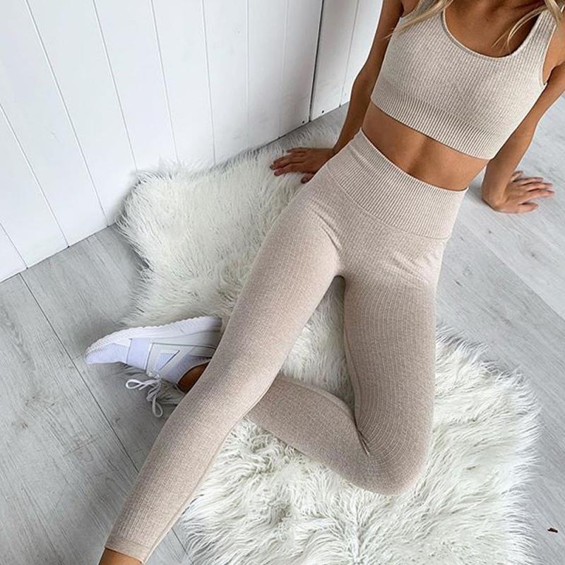 SVOKOR Yoga Sorunsuz Katı Çizgili Spor Salonu Seti Kadınlar Spor Giyim Egzersiz Sportwear Yukarı Sütyen ve Leggings itin set
