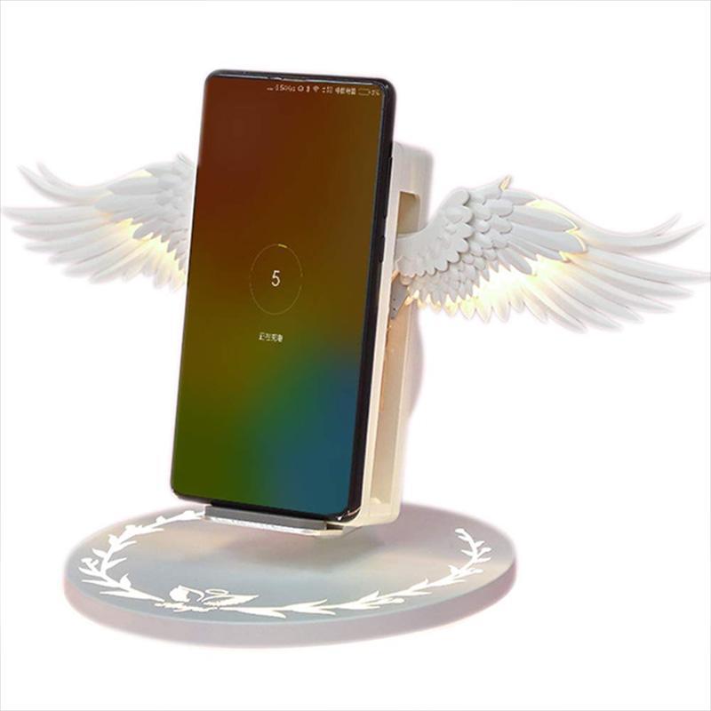Kablosuz Şarj Melek Kanat Gece Işık Cep Telefonu Kablosuz Şarj Android Iphone USB Hızlı Şarj için 10 W