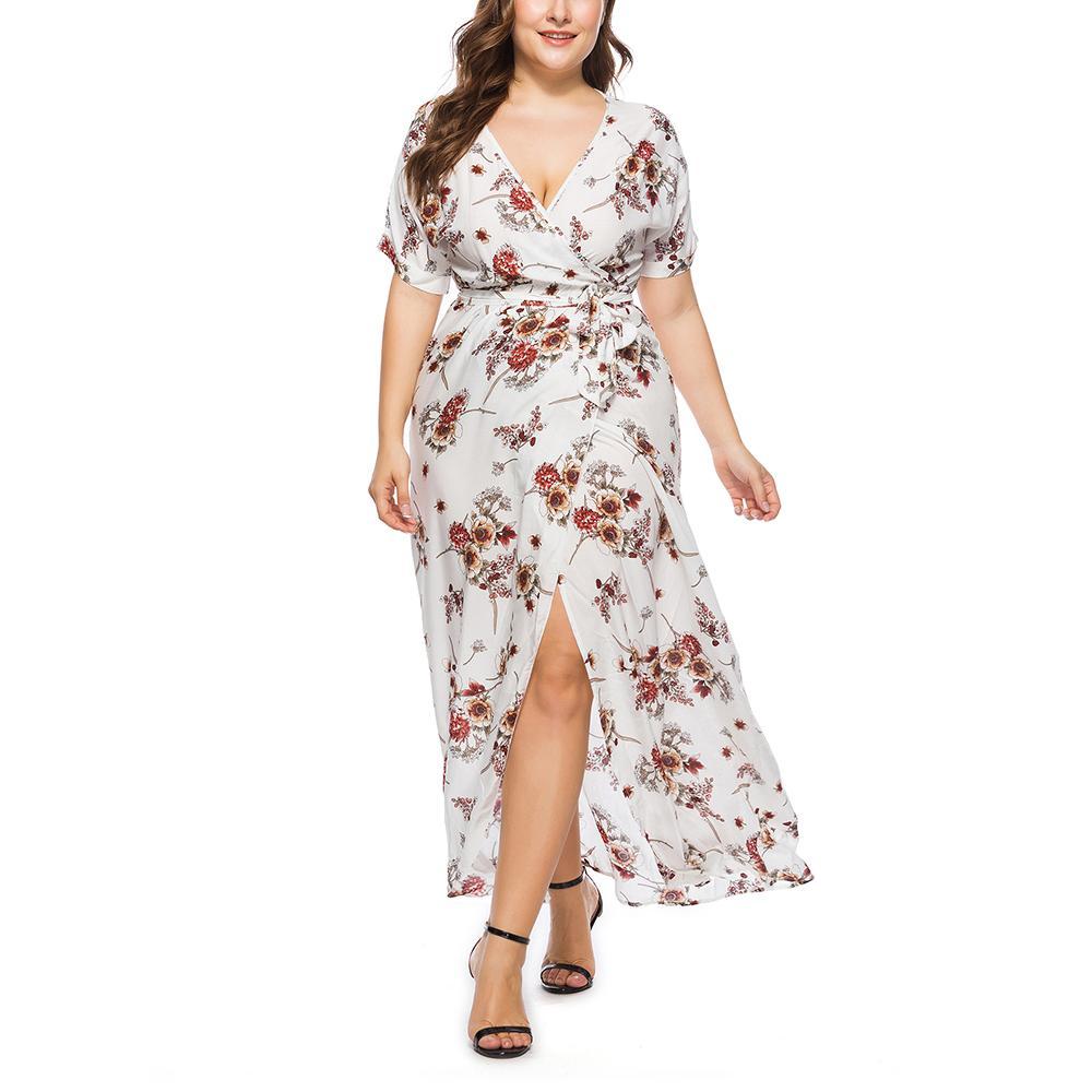 Summer Sexy Plus Size Women Maxi Dress 5xl 6xl 7xl Big Size Long Dresses Female Floral Printed Vestidos Boho V-Neck Dresses 4XL