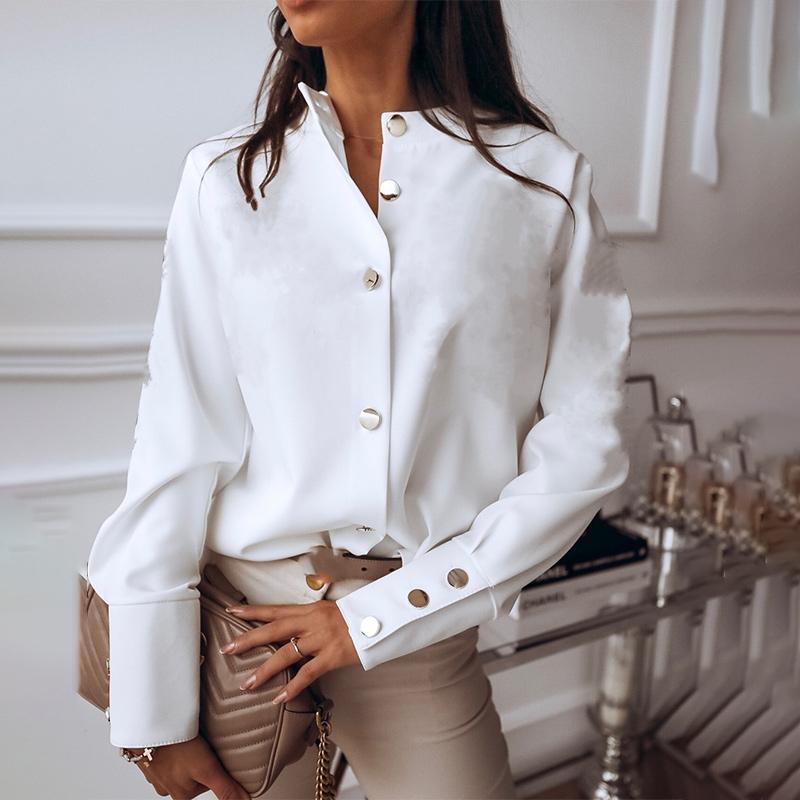 Blanc de femmes Chemisier Chemise Haut de col simple boutonnage Femme Blouses Boutons en métal 2020 Printemps Automne élégants Chemises Lady