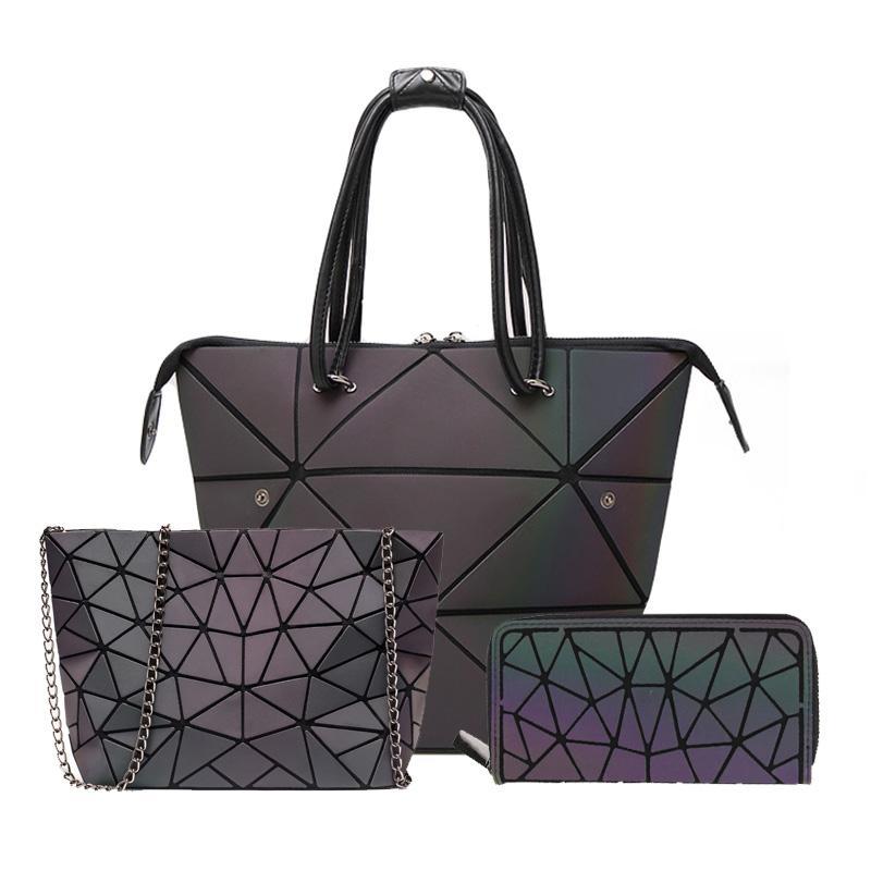 3 pièces Ensemble sac à main Sacs femmes géométriques et sacs à main Tote lumineux d'embrayage sac à main chaîne féminine Crossbody épaule