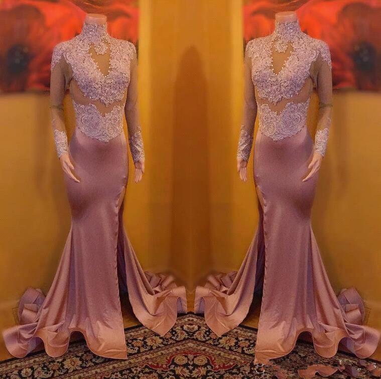 Vintage Dusty Pink High Neck Beaded Long Prom Dresses Long Sleeves Lace Appliqued Side Split Evening Dresses Sexy Illusion Bodices BC1545