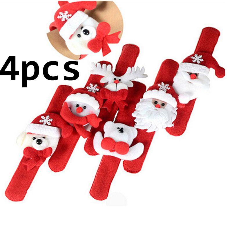 4pcs / set mignon Joyeux Noël Décorations de Noël Cercle Battement Enfants cadeau Père Noël bonhomme de neige cerf nouvel an Toys