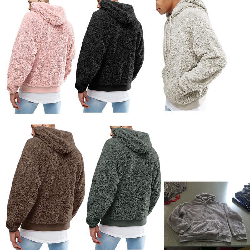 Para hombre otoño invierno Sherpa sudaderas con capucha de felpa Sudadera Capucha Junior Boys Hip Hop Fleece Hoodie Outwear la capa del suéter Tops Berber C92707