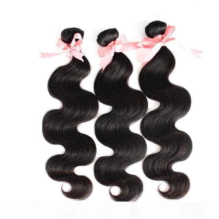 """100% малазийский Extensions волос Объемная волна человеческих волос 12 «14» 16"""" Уток волос Плетение Natural Color Double Уток Dyeable 3шт много"""