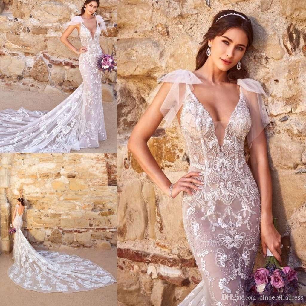 2019 Kitty Chen Sirena Vestidos de novia sin respaldo Spaghetti con cuello en V Cuello de encaje Playa Playa de novia Vestido de novia Tren Tren