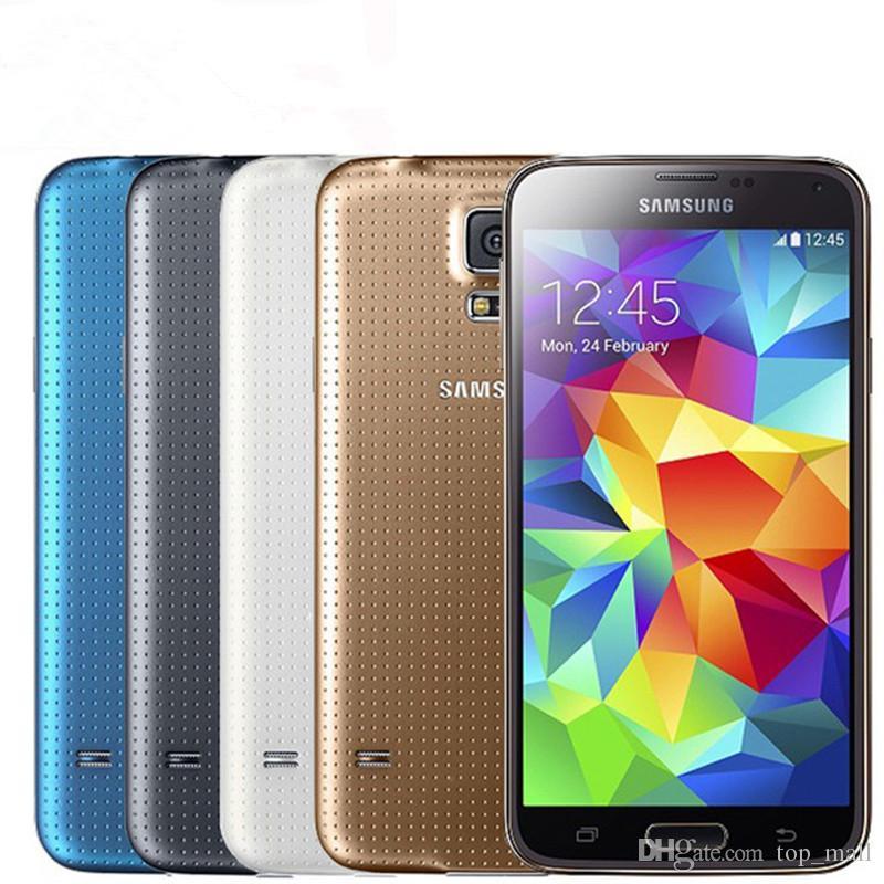 تجديد الأصلي سامسونج غالاكسي S5 G900A G900T G900F رباعية النواة 2GB 16GB دعم 4G LTE مقفلة الهاتف