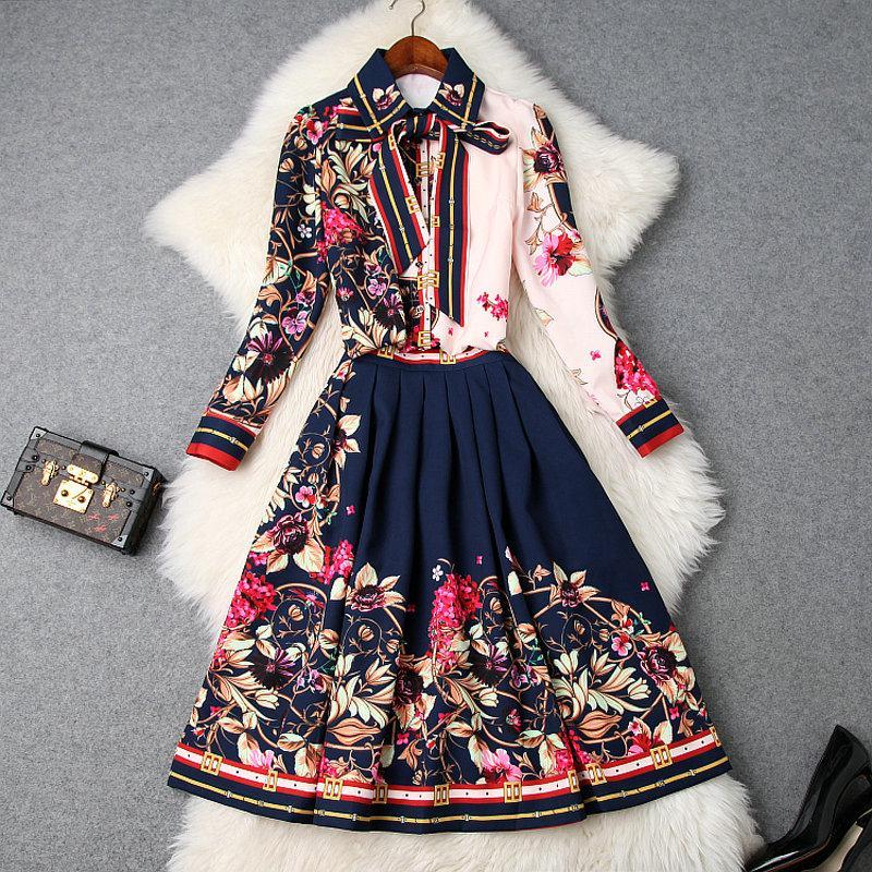 2019 أزياء المرأة الصيف قميص وتنورة مجموعة تصميم العلامة التجارية الأنيقة خمر زهرة طباعة تنورة السيدات فستان زهري فاخر T9561