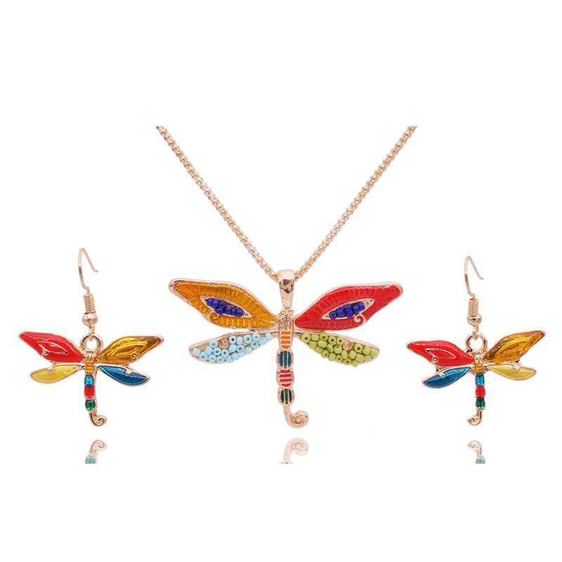 Mieehoo 100 mağaza En Yeni Avrupa ve Amerikan moda çift kanat yusufçuk kolye küpe Retro inci takı set