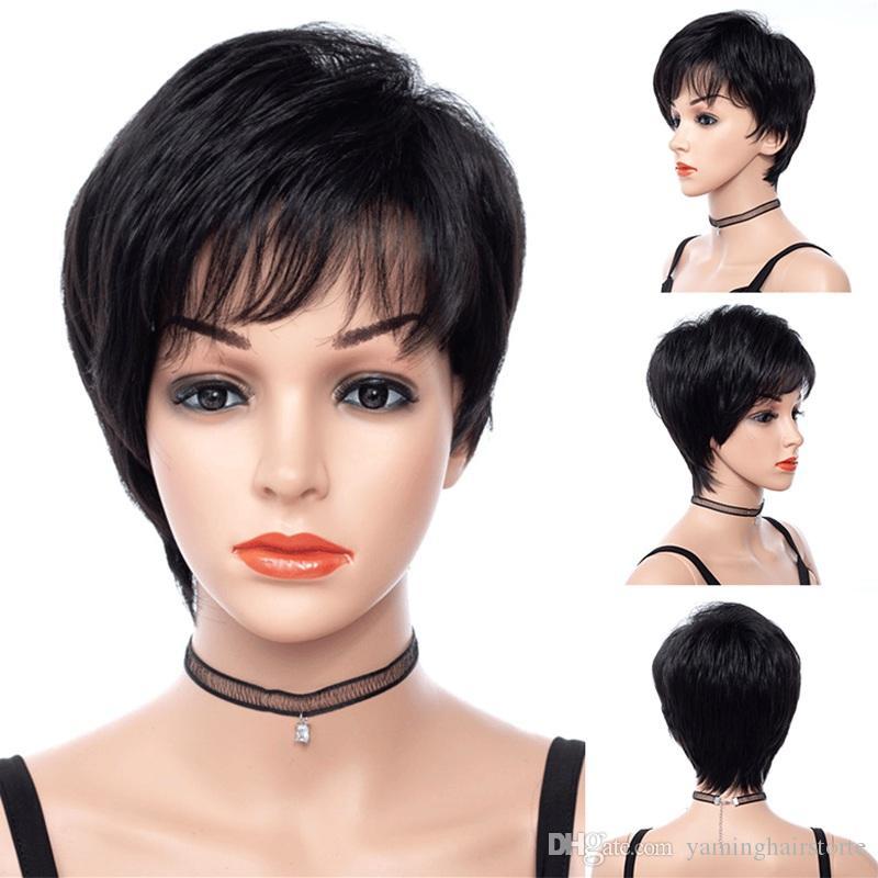 짧은 여자 가발 검은 색 변태 스트레이트 합성 머리 가발과 사이드 뱅스 없음 접착제 없음 8 인치 자연 헤어 내열성