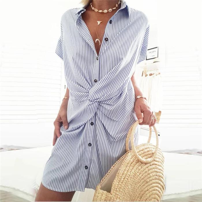 Летний женский полосатые рубашки платье отворотом шеи с коротким рукавом однобортный моды Тонкий Повседневные платья