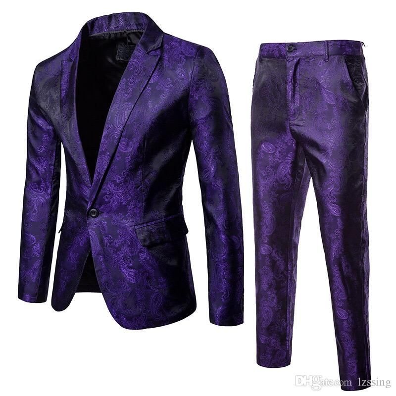 New Design Slim Fit Style Men Suits Business and Casual Man Suit Purple Maroon and Black 3 Colors TZ02 1616