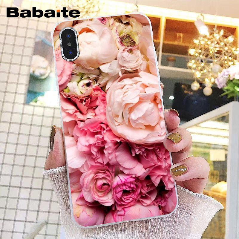Babaite أنيق وردي بنفسجي الفاوانيا في حالة تغطية زهرية الهاتف للحصول على iphonephone برو 11 11Pro ماكس 8 7 6 6S زائد X XS MAX 5 5S SE XR