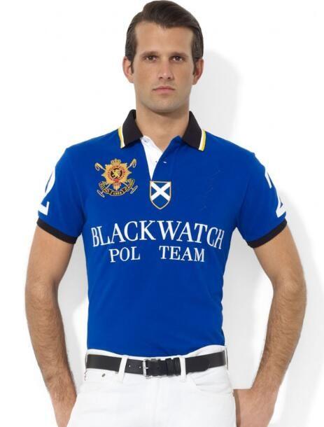 남성 클래식 폴로 셔츠 블랙 시계 슬림 맞추기 T 셔츠 큰 말 자수 남성 캐주얼 티 여름 Camisa 폴로 블루 사이즈 S-2XL 탑