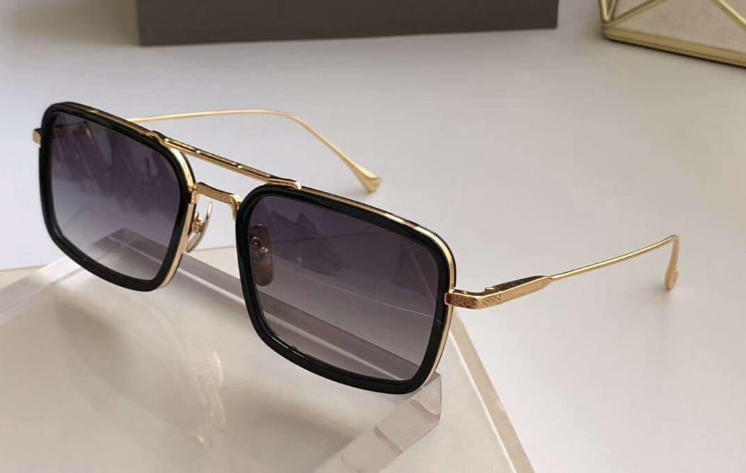 Gafas de sol de montura rectangular Oro Negro Gris sombreada de la lente 134 Ocho vidrios de Sun de las gafas de sol para hombre de las gafas de protección UV nuevo con la caja