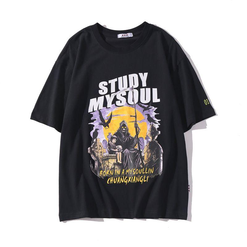 여름 남성 프린트 T 셔츠 2020 패션 디자이너 유럽 스타일 화이트 검은 색 짧은 소매 스트리트면 하라주쿠 큰 크기 CHU6215 탑