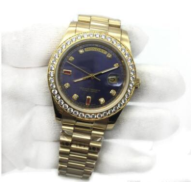 Mens Watch cadran bleu en or 18 carats Président Sapphire Cystal Diamant Nombre Montres Hommes Mouvement mécanique automatique Montre Homme
