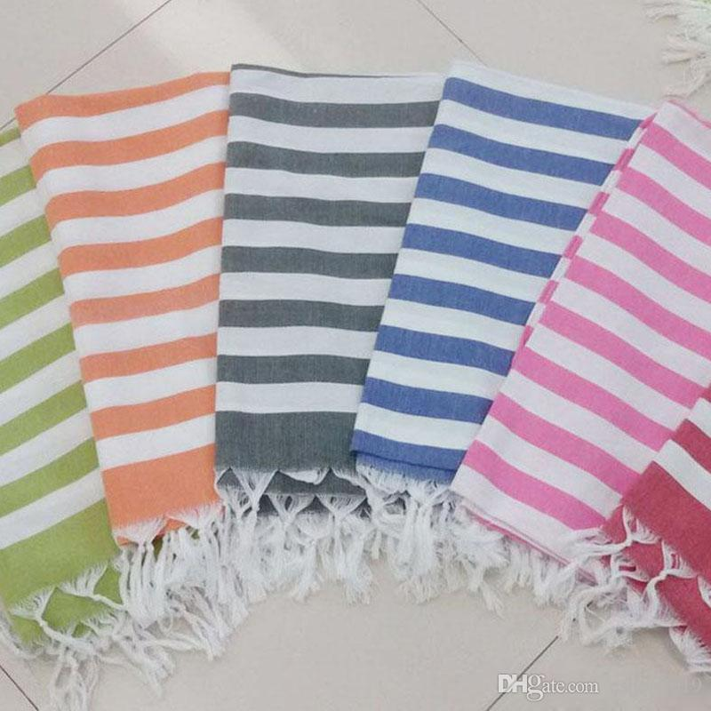 New 100x180cm Soft Cotton Beach Towels Scarf Turkish Tassel Striped Bath Towel for Adult free shipping