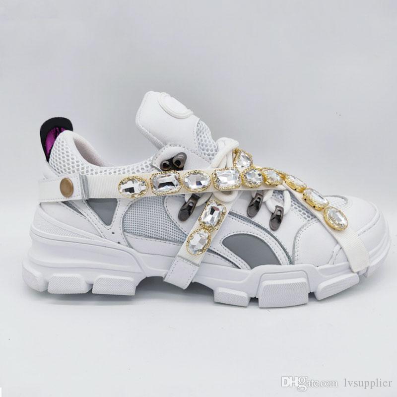 Çıkarılabilir Kristaller Erkek Lüks Tasarımcı Ayakkabı Günlük Moda Lüks Designer ile FlashTrek Sneaker Yeni Ayakkabı Sneakers Boyutu 35-45 Womens