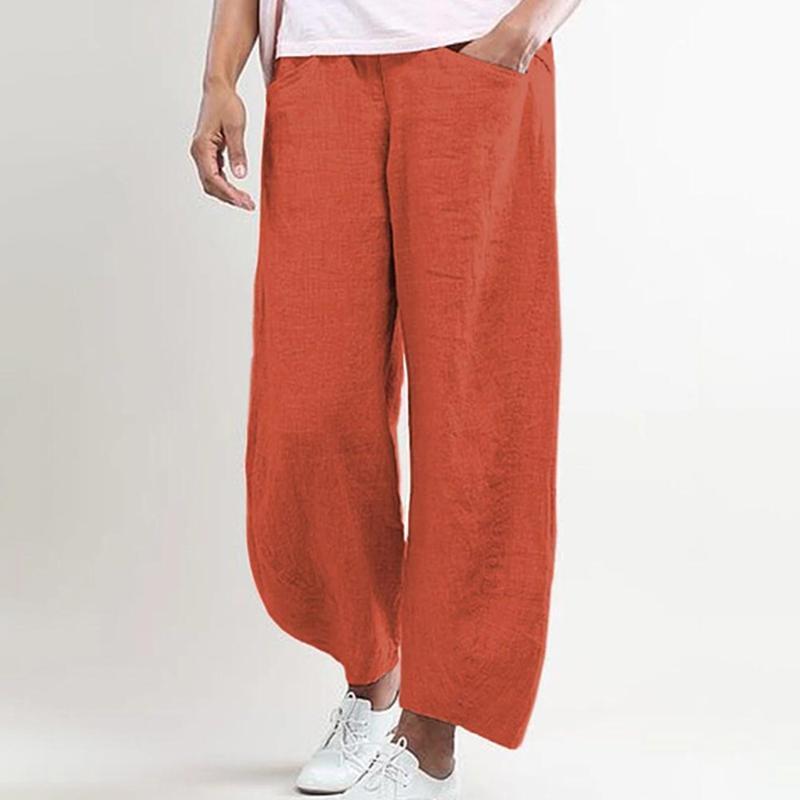 2020 pantalones de verano mujeres ropa de cama más tamaño pantalones sueltos pierna ancha vinatge casual tobillo longitud pantalones damas cintura elástica 3xl
