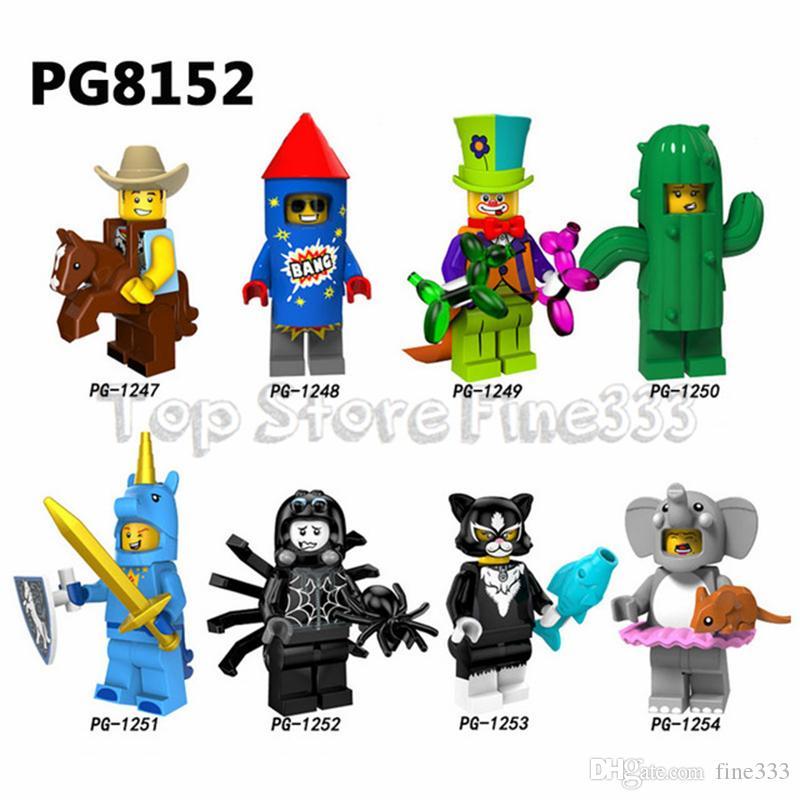 Building Minifig Blocks cowboy Fireworks boy Circus troupe clown Cactus girl boy Catwoman Elephant girl Toys minifigured PG8152