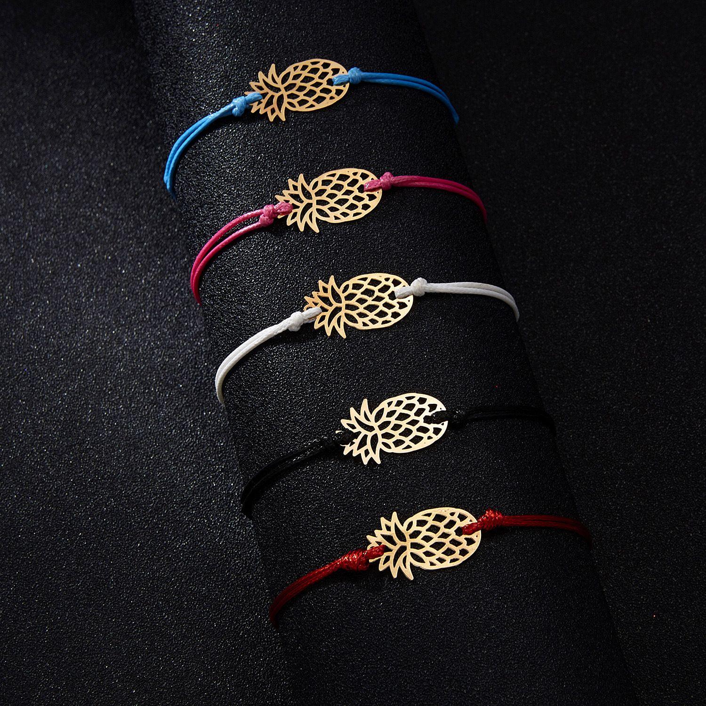 2019 joyería pulsera de la amistad piña pulsera para mujeres de la manera mujeres del regalo del hueco de oro piña del trenzado cuerda pulsera