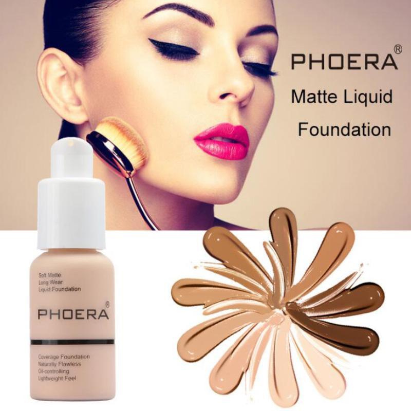 New Hot Marque Maquillage Primer PHOERA Matte huile liquide contrôle Fondation 10colors Correcteur mat doux au long Wear Concealer Foundation