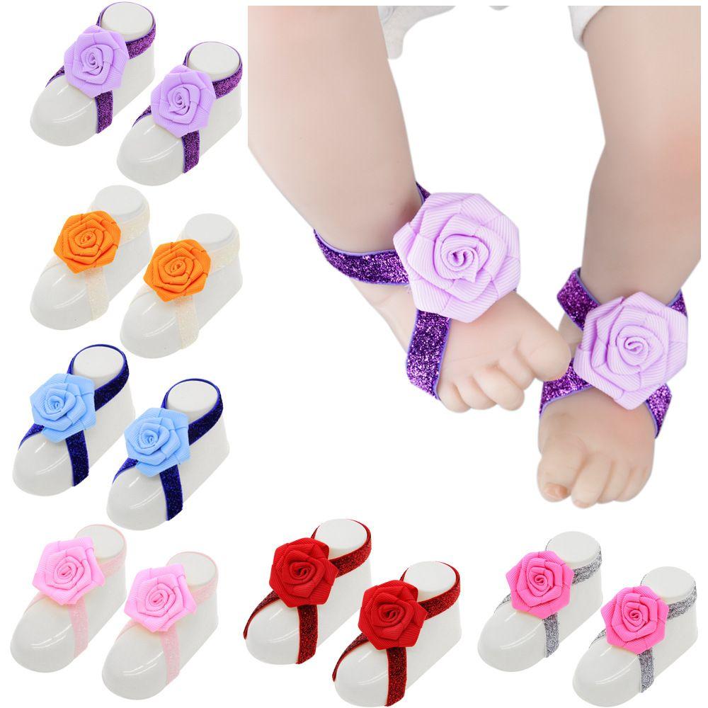 15420 Bebek Sandalet Gül Çiçek Ayakkabı Kapak Barefoot Ayak Bağları Bebek Kız Çocuklar İlk Walker Fotoğraf Dikmeler Ayakkabı