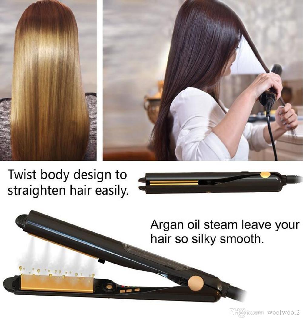 Argan Oil Vapor Infusion Treatment Curling and Straightening in One tool Ceramic Tourmaline Flat Iron Steam Hair Straightener