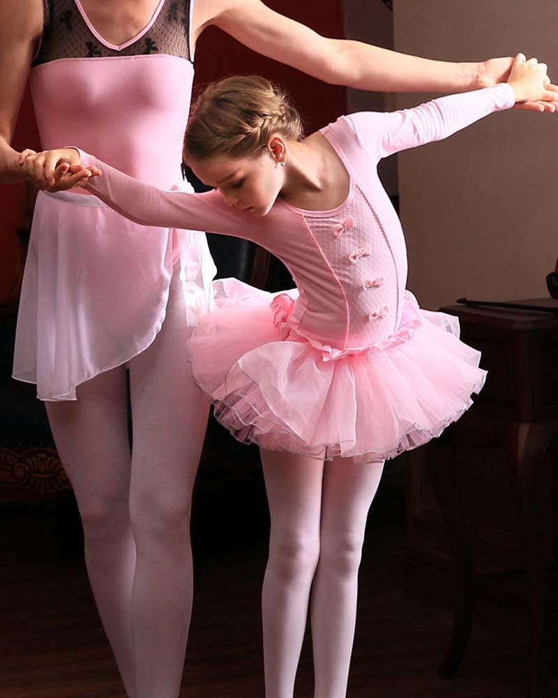 핑크 코튼 발레 레오타드 긴 소매 키즈 어린이 발레 투투 여자 라운드 목 투투 드레스 댄스 댄스 드레스