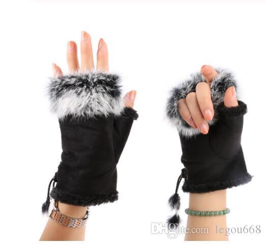 manera de las mujeres de imitación de piel de conejo muñeca de la mano Calentador medios guantes del dedo del guante de invierno GB1328