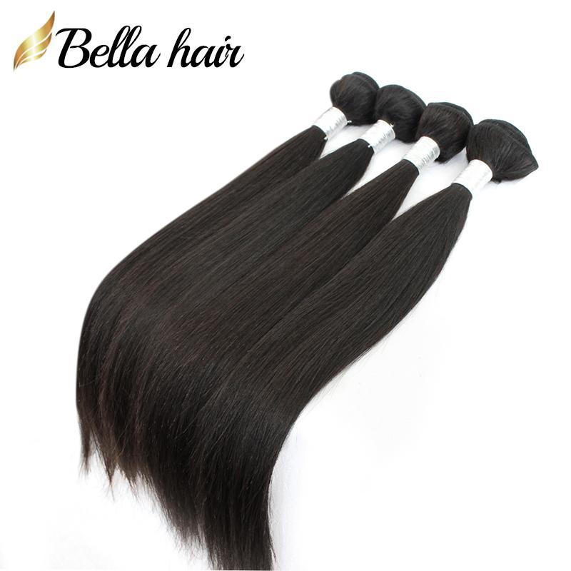 """Бразильские девственные пакеты волос Расширения 10 """"-24"""" человеческих волос уток уток тела натуральный цвет Полная головка 4шт. DHL Bulk оптом Bella волосы"""