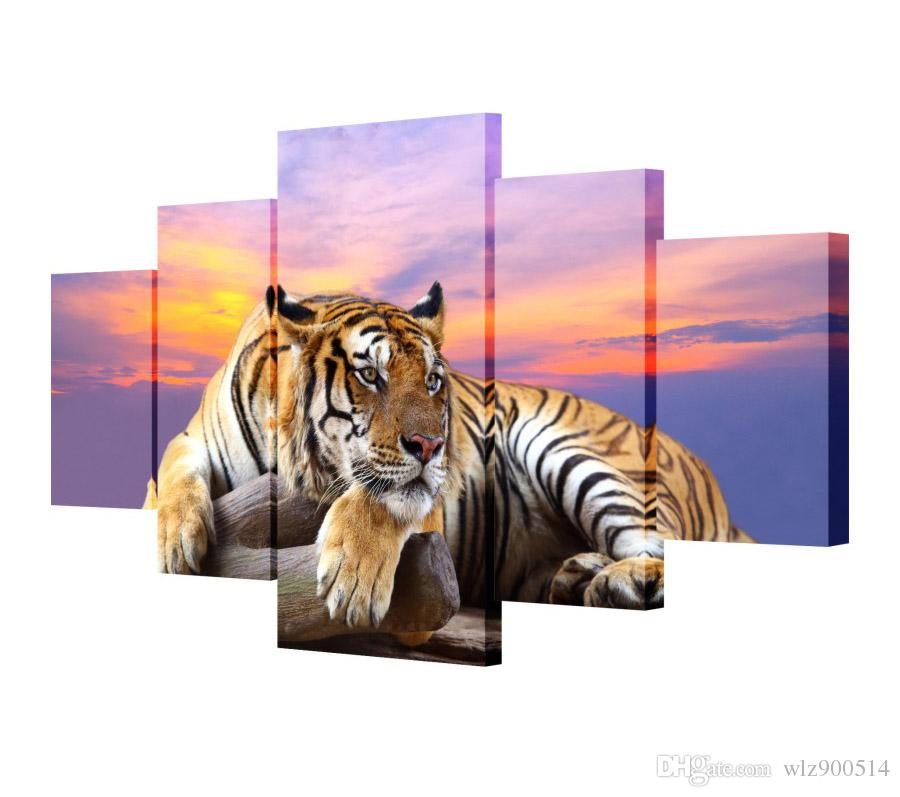 5pcs Art Tiger Animal Canvas Painting Living Room Wall Art 5 Abstract Modern Home Wall Decor Setting Spray Pictures Set No Frame