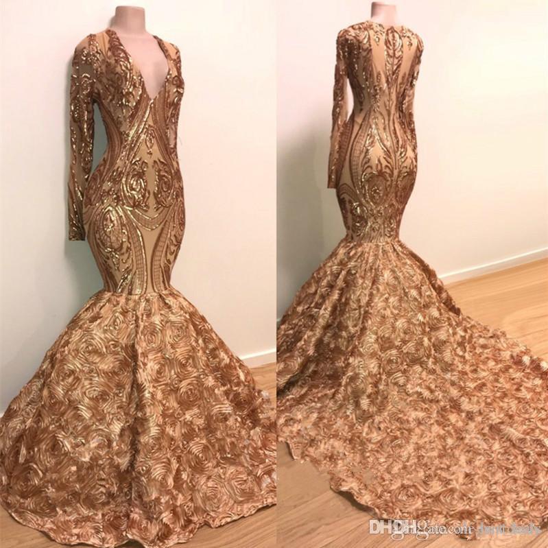 Sparkly Gold Pailletten Applique Prom Kleider mit Langarm 2019 V-Ausschnitt Sweep Zug Luxus 3D Floral Bottom African Abend Party Kleid