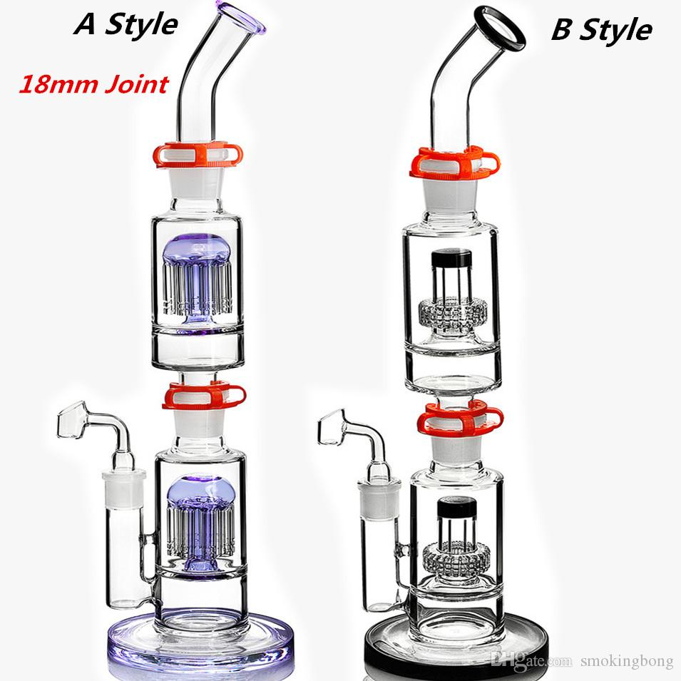 tall bong straight glass water bongs double Stereo Matrix removable perc glass water pipe oil rigs with clips 17.5 inchs