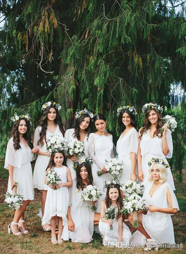 Abiti da sposa della spiaggia di estate per usura più i vestiti da Junior chiffon di Boho festa di nozze damigella d'onore Breve Abiti 2019