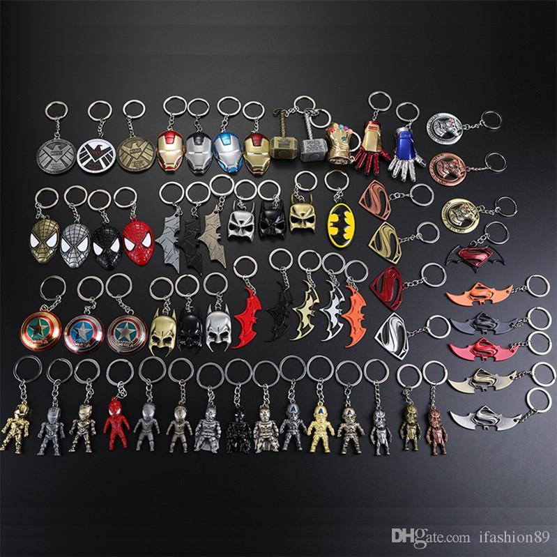 Metal marvel vingadores capitão américa escudo keychain homem aranha homem de ferro máscara chaveiro brinquedos hulk batman chave do carro pingente epacket livre