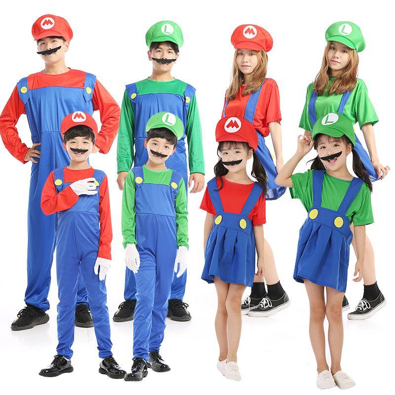 New Super Mario Cosplay Costumes Kids Funy Luigi Bros Plumber Purim Cartoon Fancy Ball Dress Family Christmas Party Suit