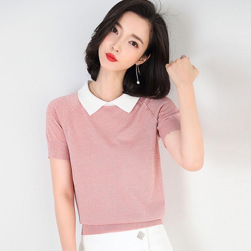 Women's T-Shirt Womens Top Lady Cotton Short Sleeve Turn-down Woman Tshirt All Match Basic Black Gray White Color