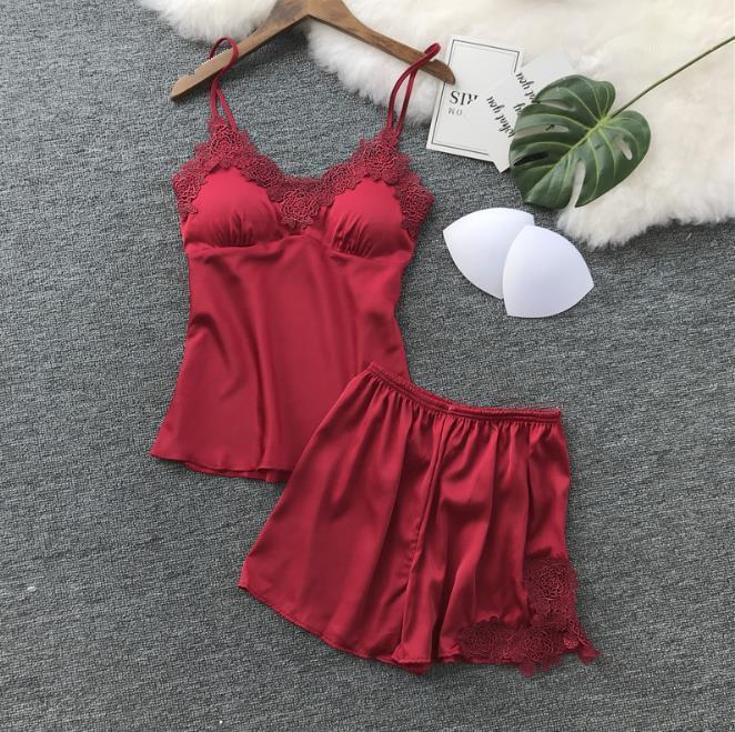 Pyjamas Sleeveless Cami Top and Shorts S 2XL Womens Sleepwear Sexy Satin Sleepwear Sets Solid Lace V Neck