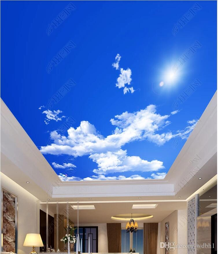 3d murais de teto papel de parede personalizado foto não-tecido mural céu HD, céu azul, nuvens brancas, sol, teto, zenith mural